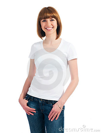 Free White Caucasian Teen Wearing A Clean T-Shirt Stock Photography - 18885692