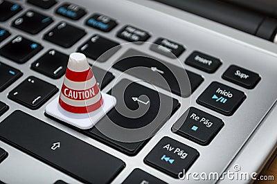 White Caution Cone On Keyboard Free Public Domain Cc0 Image
