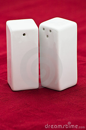 White ceramic salt and pepper shakers