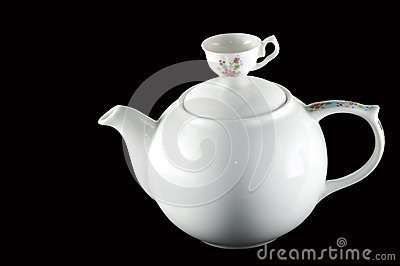 White ceramic teapot pitcher