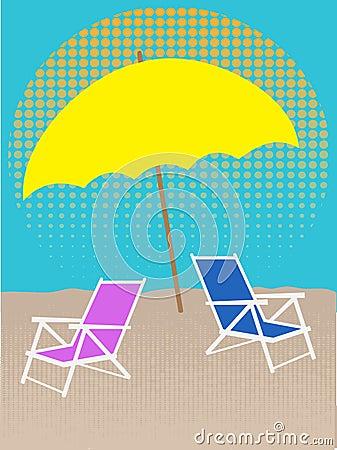 White Chair on Beach Under Umbrella Halftones