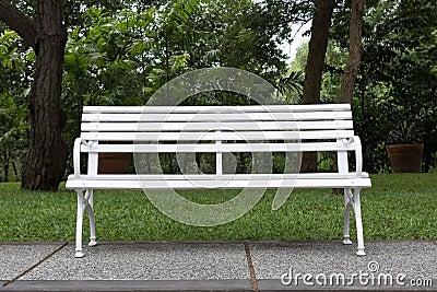 White chair in the garden.