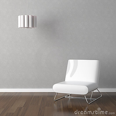 White chair and lamp on grey