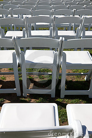 White chairs for outdoor event