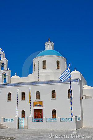 White chapel in Santorini
