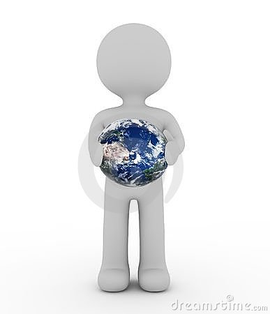 Free White Character And Earth Royalty Free Stock Photo - 23685235