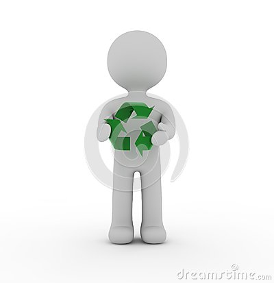 Free White Character And Recycling Stock Images - 25238464