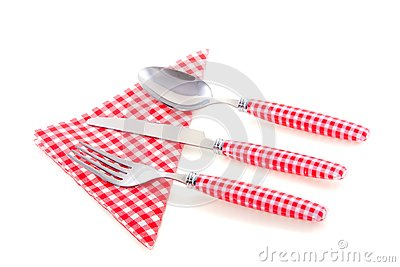 White checkered cutlery