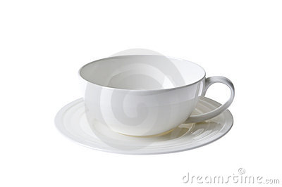 White china porcelan cup and sauser set isolated