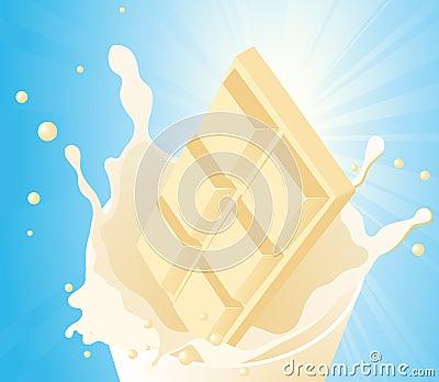 White chocolate in milk splash