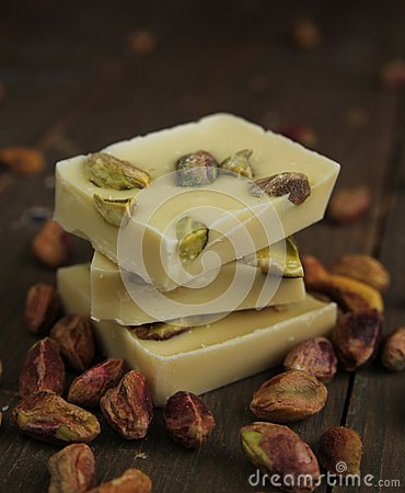 White chocolate and pistachios