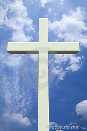 White Christian Cross In Front Of A Cloudy Sky Royalty