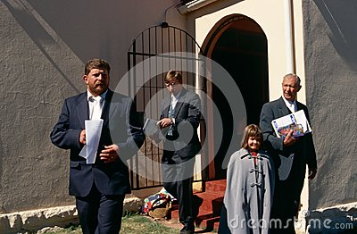 White Christians outside a church in South Africa. Editorial Stock Photo
