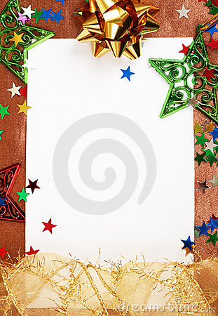 White Christmas card with decorations