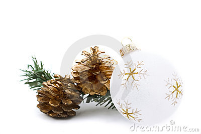 White christmas ornament with golden pine cones