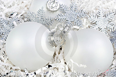 White Christmas Ornaments with Silver Snowflakes