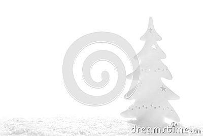 White Christmas: snowy tree on white background