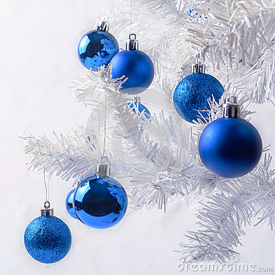 Free White Christmas Tree Branch With Royal Blue Ornaments Stock Photo - 81626440