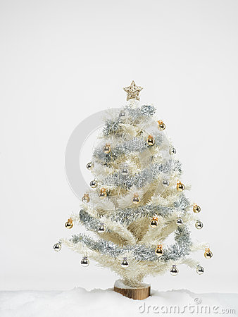 White christmas tree with snow