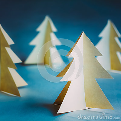 Free White Christmas Trees Made Of Old Paper On Blue Stock Photos - 53241393