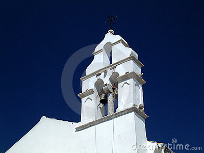 White church bell tower.