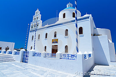 White church of Oia village at Santorini island