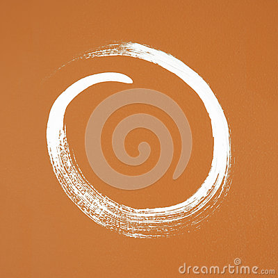 White circle painted on orange background