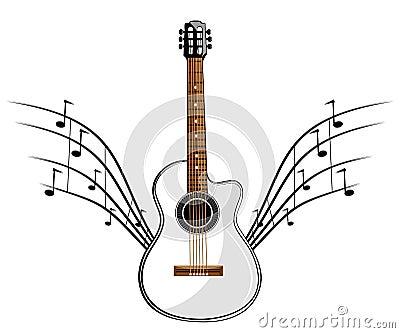 White classic guitar