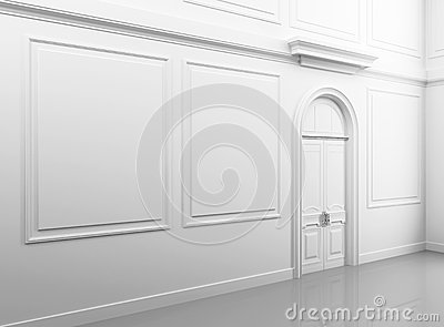 White classical empty interior