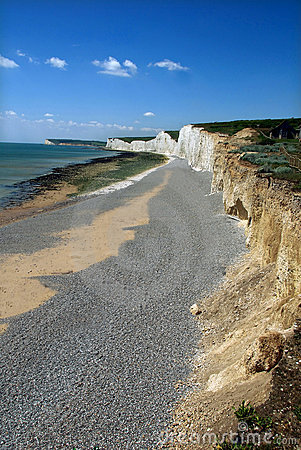 White cliffs in East Sussex, England