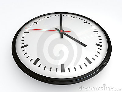 White clock with red arrow