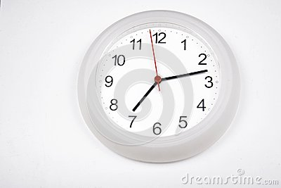 White clock with white background