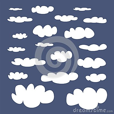 White clouds on blue sky vector background