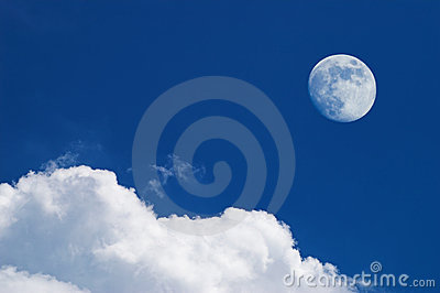 White clouds and full moon