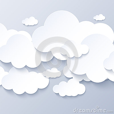 White clouds on gray sky background