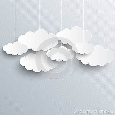 White vector clouds on gray sky background