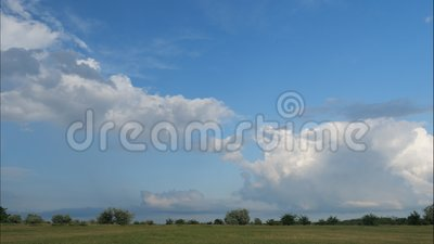 White clouds over countryside stock video footage