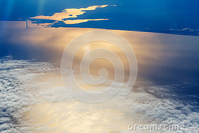 White clouds in the sky aerial view sea Stock Photo