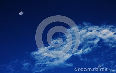 White Clouds Under Blue Sky With Gibbous Moon Free Public Domain Cc0 Image