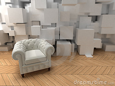 White club armchair on modern