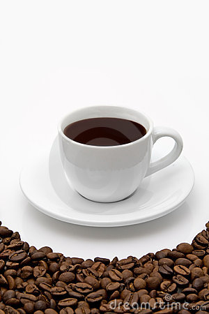 White coffee cup and grain on white background