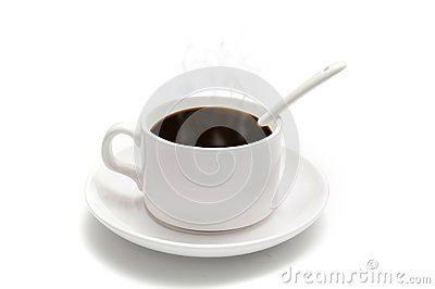 White coffee cup with a spoon on the saucer