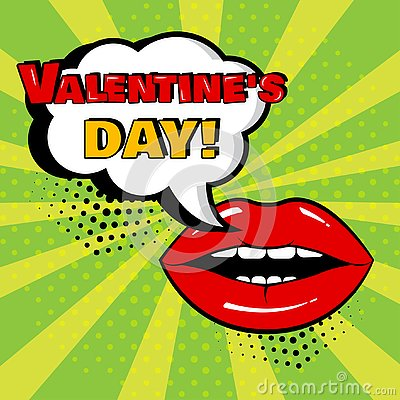 White comic bubble with Valentine`s Day word and red lips on green background. Vector illustration Cartoon Illustration