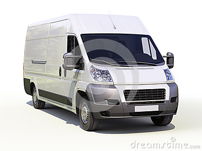 White commercial delivery van