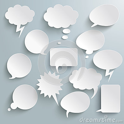 Free White Communication Bubbles Royalty Free Stock Photos - 34567778