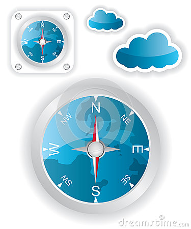 White compass and cloud icons illustration