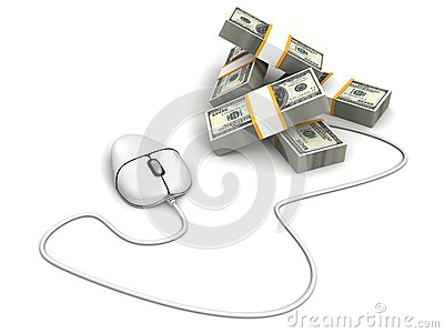 White computer mouse with dollar cash banknotes