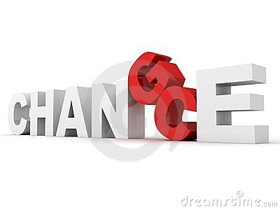 White concept word CHANCE CHANGE with the red C G