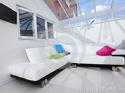 White conservatory interior