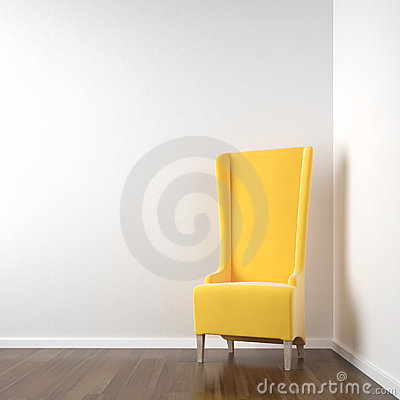White corner room with yellow chair